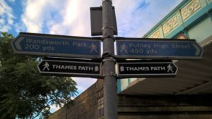 Thames path sign at Putney